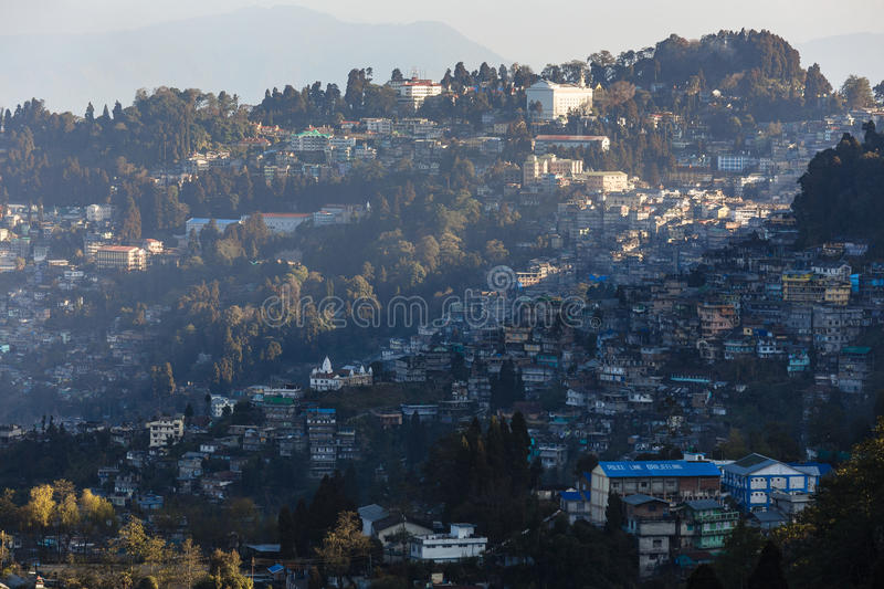 Gangtok mountain villages with sunlight in the morning that view from Tiger Hill at Darjeeling, India.  stock photos