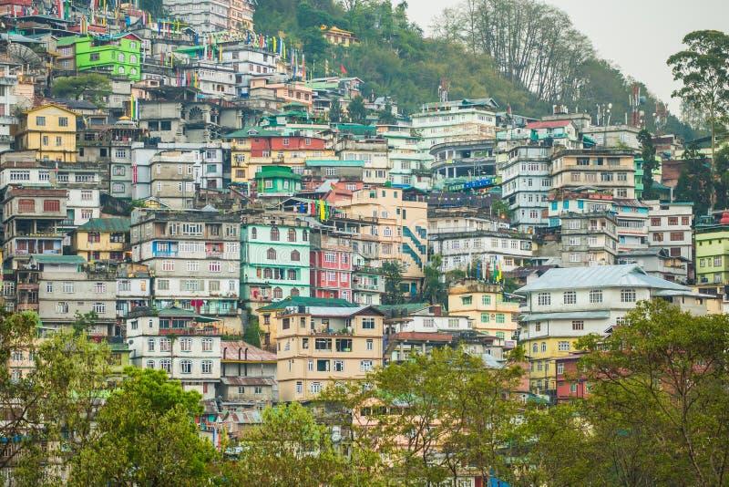Gangtok o capital de Sikkim, Índia imagens de stock