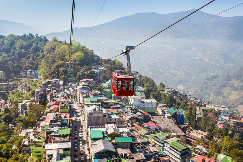 Gangtok Ropeway, India. Gangtok Ropeway in Gangtok city in the Indian state of Sikkim, India stock photography