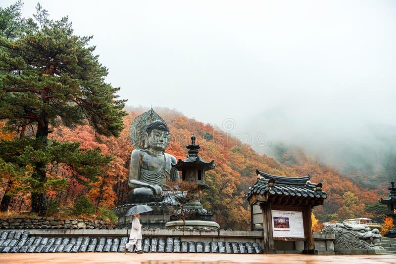 Gangwon-, Νότια Κορέα - 12 Νοεμβρίου 2015 μεγάλο μνημείο του Βούδα του ναού Sinheungsa στο εθνικό πάρκο Sokcho Seoraksan, νότος K στοκ εικόνα