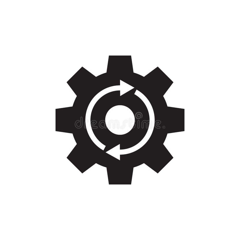 Gangzahnrad mit Pfeilen - schwarze Vektorikone auf weißem Hintergrund für Website, bewegliche Anwendung, Darstellung, infographic lizenzfreie abbildung
