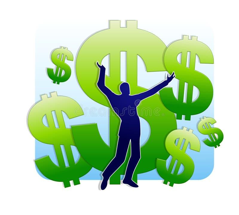 Ganhando a lotaria ou a herança ilustração stock