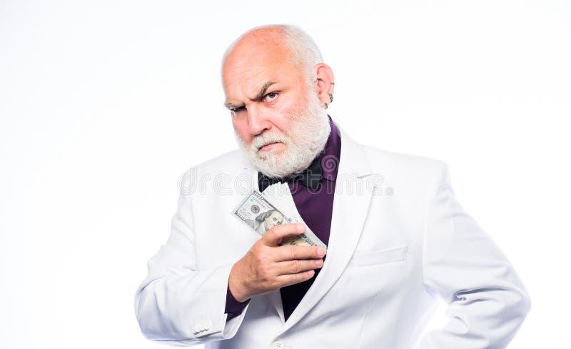 Ganhe o lucro do dinheiro Segurança de dinheiro Avô rico e herança Homem de neg?cios bem sucedido Economias da operação bancária  imagens de stock royalty free