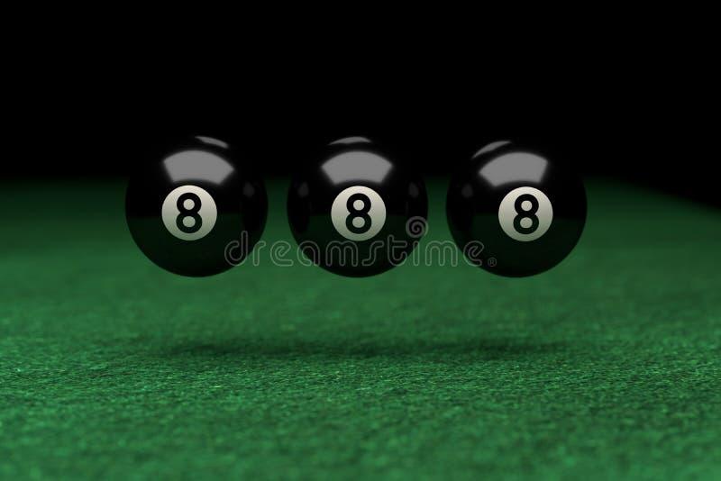 Ganhe, o número oito, três bolas de bilhar que flutuam no ar, no verde fotos de stock