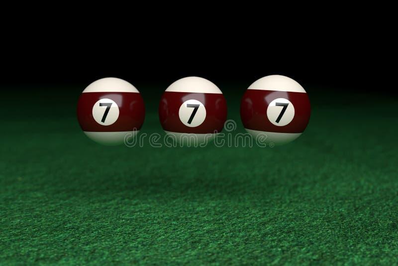 Ganhe, o número sete, três bolas de bilhar que flutuam no ar, em Gree fotografia de stock