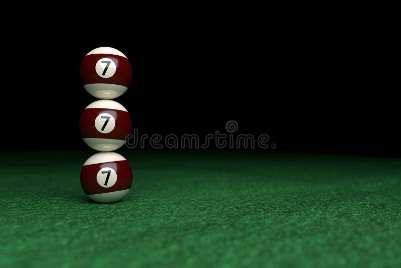 Ganhe, o número sete, três bolas de bilhar uma sobre a outro, em G foto de stock royalty free