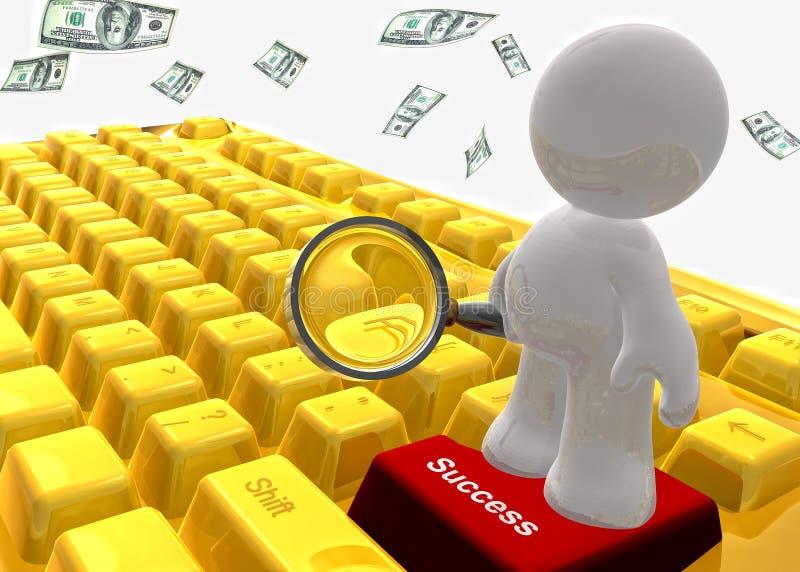 Ganhe o símbolo do teclado do dinheiro ilustração royalty free