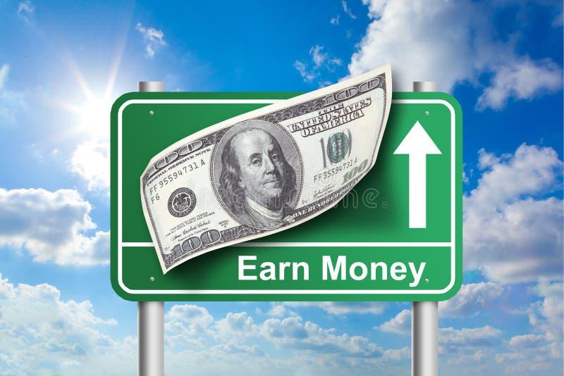 Ganhe o sinal do dinheiro foto de stock royalty free