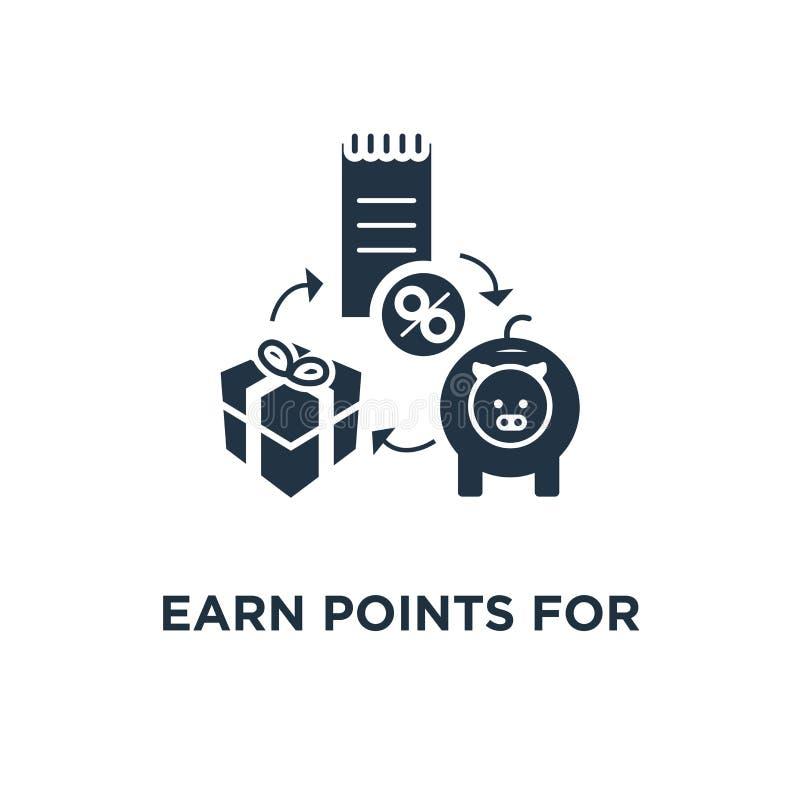 ganhe pontos para o ícone da compra o projeto, o dinheiro para trás, o mercado e a promoção do símbolo do conceito do programa da ilustração royalty free