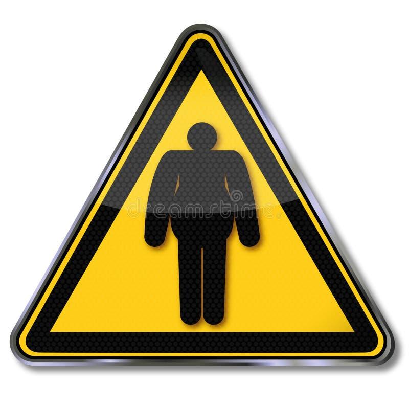 Ganho de peso do perigo e obesidade ilustração royalty free