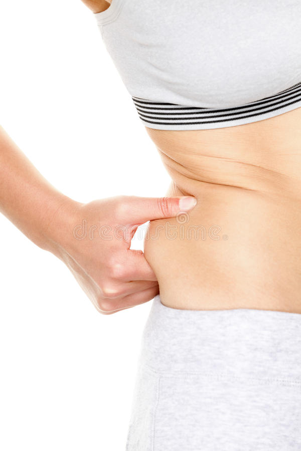 Ganho de peso - mulher que ganha o peso que toca na gordura foto de stock royalty free