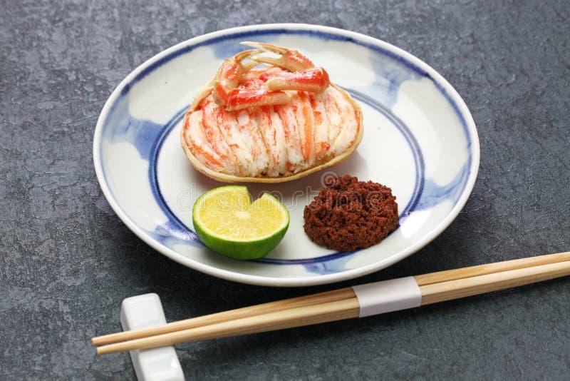 Gani de Seko, crabe femelle cuit à la vapeur de neige, nourriture japonaise photo stock