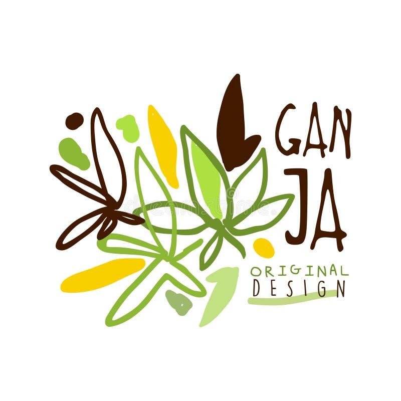 Ganja标签原始的设计,商标图表模板 库存例证