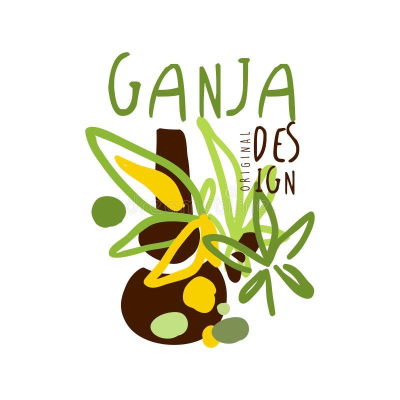 Ganja标签,商标图表模板 皇族释放例证