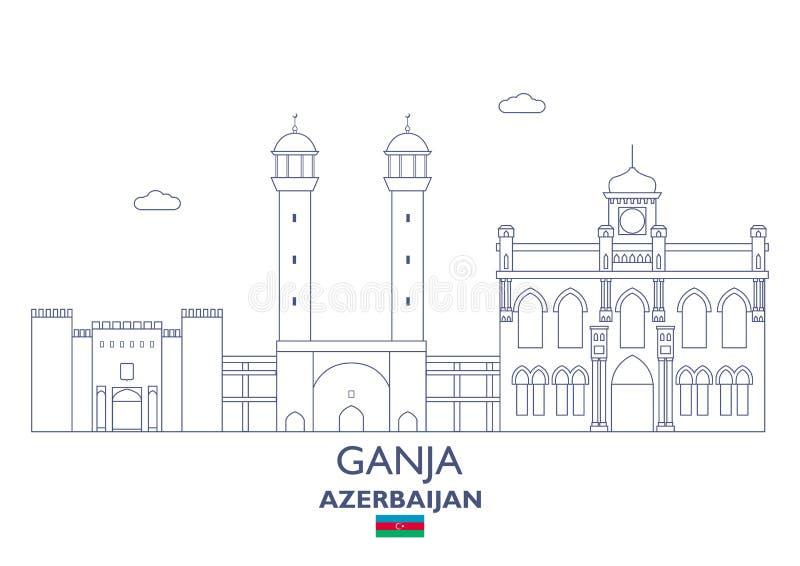 Ganja City Skyline, Azerbaijan vector illustration