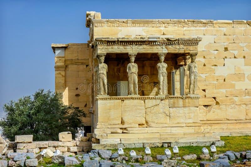 Gankowy kariatyd ruin świątyni Erechtheion akropol Ateny Grecja obrazy stock