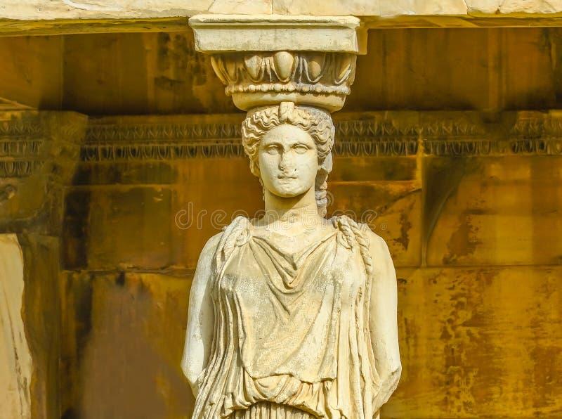 Gankowy kariatyd ruin świątyni Erechtheion akropol Ateny Grecja zdjęcie stock