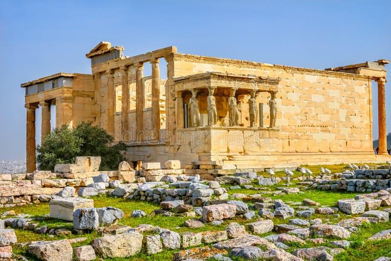 Gankowy kariatyd ruin świątyni Erechtheion akropol Ateny Grecja obraz stock