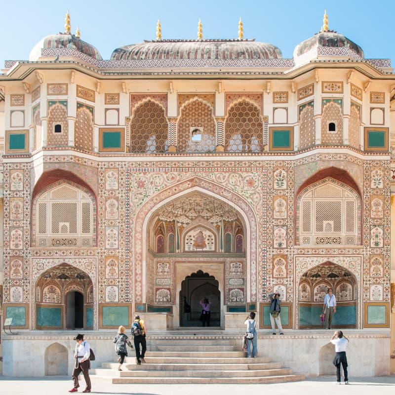 Ganosh Pol på Amer Fort i Jaipur, Indien arkivbilder