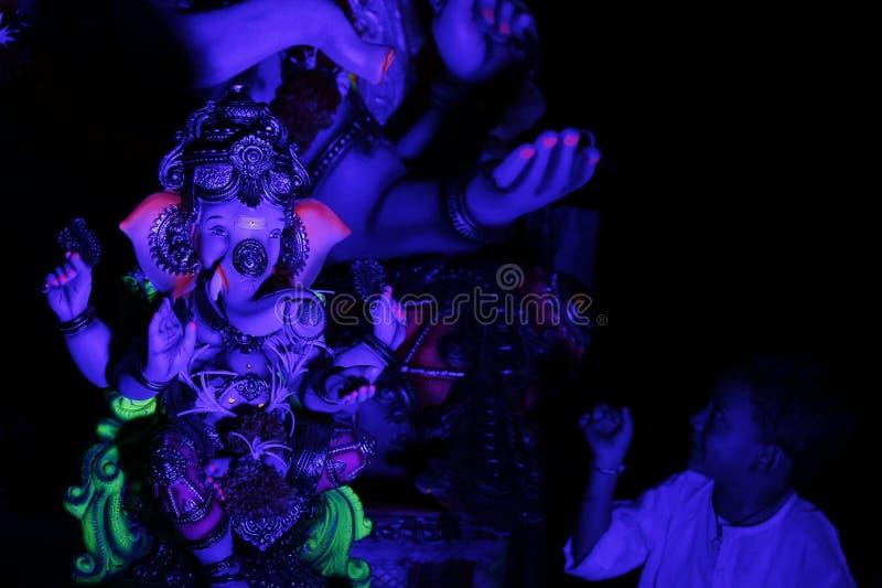 Ganpati festiwal w Surat przy nocą fotografia royalty free