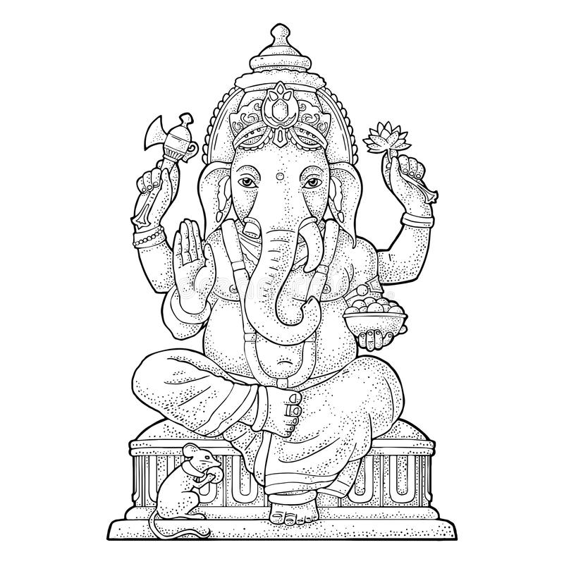 Ganpati with mouse for poster Ganesh Chaturthi. Engraving vintage vector. Black illustration. Isolated on white background. Hand drawn design element stock illustration