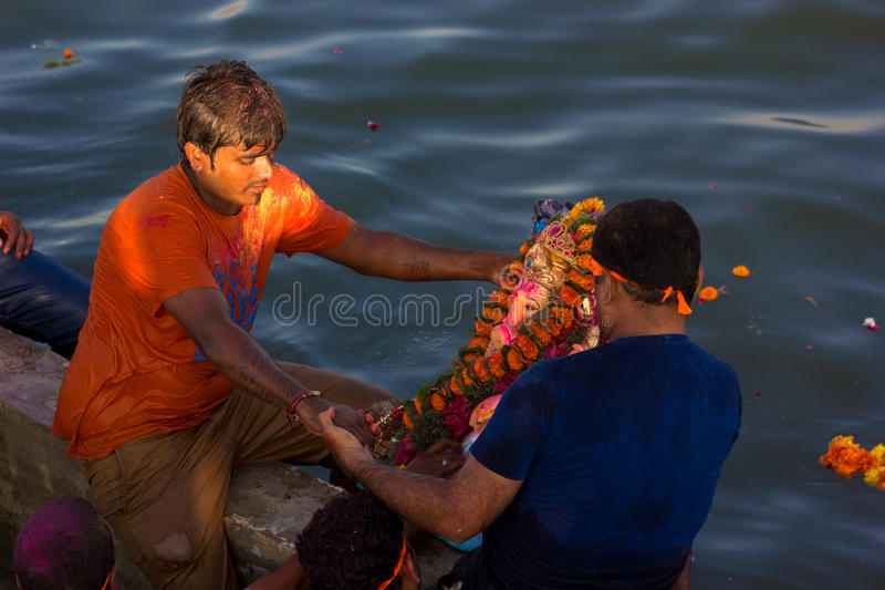 Ganpati Utsav. Is one of the largest celebrated festival after Diwali. Idol Ganpati beloved to be God of prosperity is invited bring home for several days stock photography
