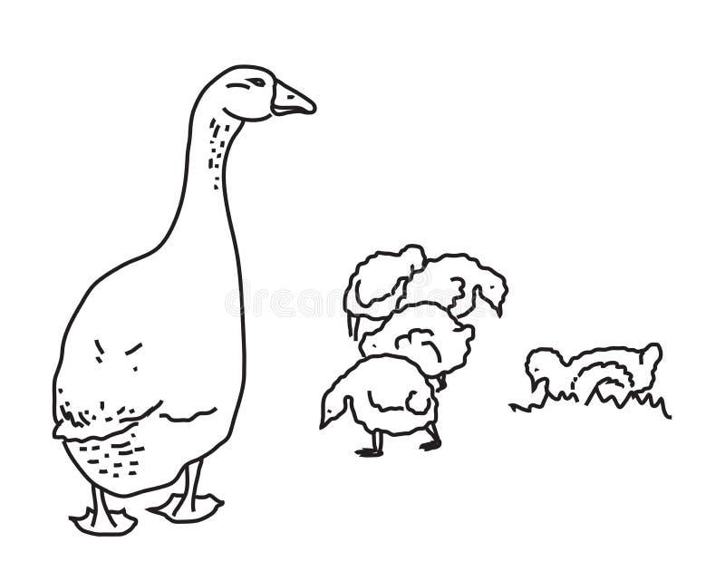 Gans en haar kinderen vector illustratie