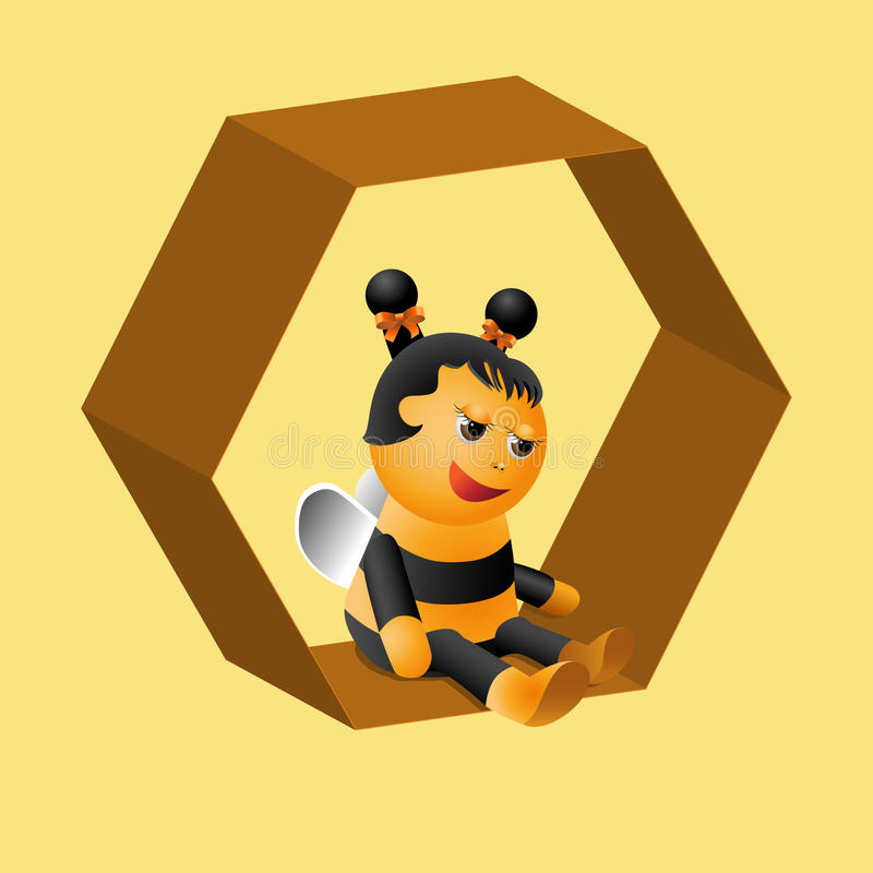 Ganska sitter ett trevligt litet bi på celler stock illustrationer
