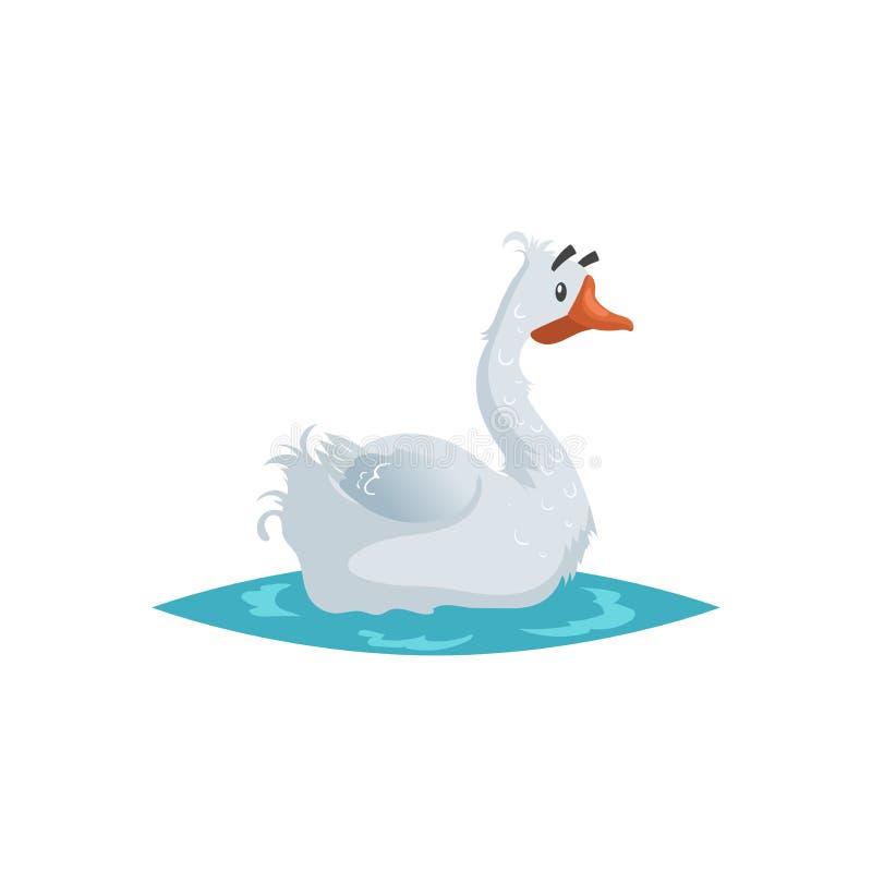 Ganso divertido lindo Estilo cómico del estilo plano de la historieta Natación nacional feliz del pájaro de la granja en el agua  stock de ilustración