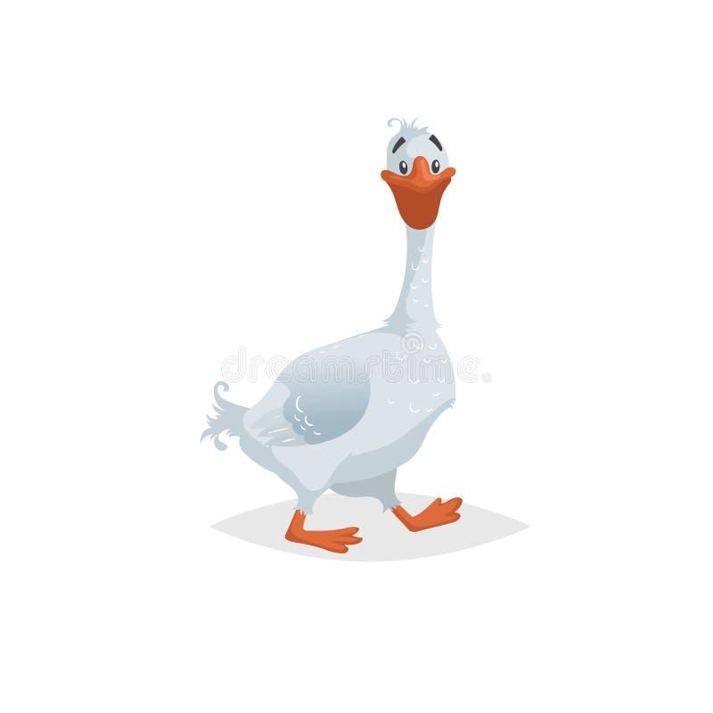 Ganso divertido lindo Estilo cómico del estilo plano de la historieta Pájaro nacional feliz de la granja con el cuello largo Ilus ilustración del vector