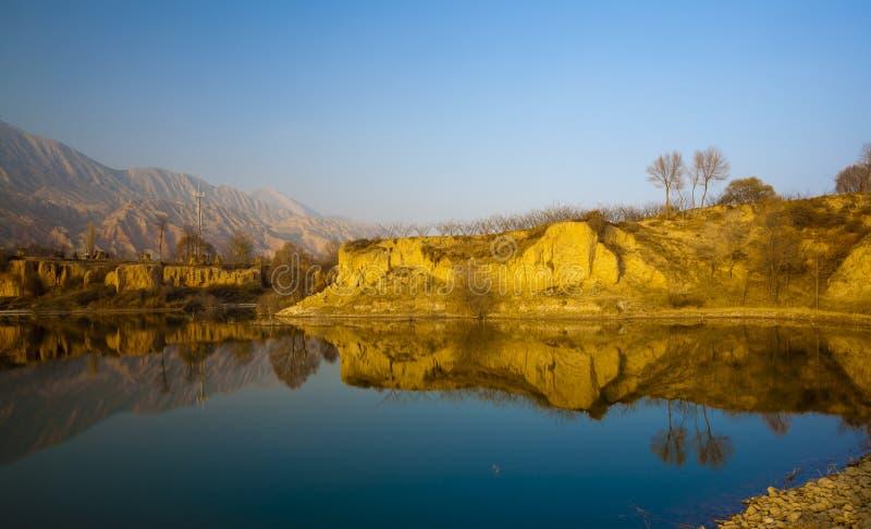 Gansu żółty rzeczny zmierzch fotografia stock
