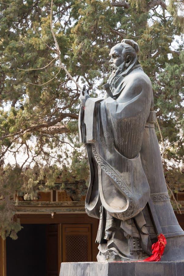 GANSU, CHINA - Apr 08 2015: Confucius Statue at Wuwei Confucian. Temple (Wuwei Wen Miao). a famous historic site in Wuwei, Gansu, China stock photos