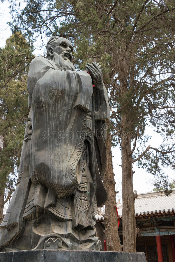 GANSU, CHINA - Apr 08 2015: Confucius Statue at Wuwei Confucian. Temple (Wuwei Wen Miao). a famous historic site in Wuwei, Gansu, China stock image