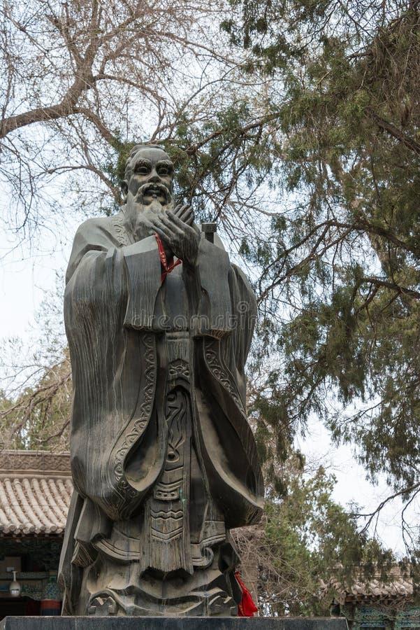 GANSU, CHINA - Apr 08 2015: Confucius Statue at Wuwei Confucian. Temple (Wuwei Wen Miao). a famous historic site in Wuwei, Gansu, China royalty free stock images