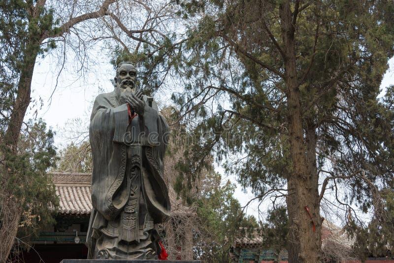 GANSU, CHINA - Apr 08 2015: Confucius Statue at Wuwei Confucian. Temple (Wuwei Wen Miao). a famous historic site in Wuwei, Gansu, China stock photo