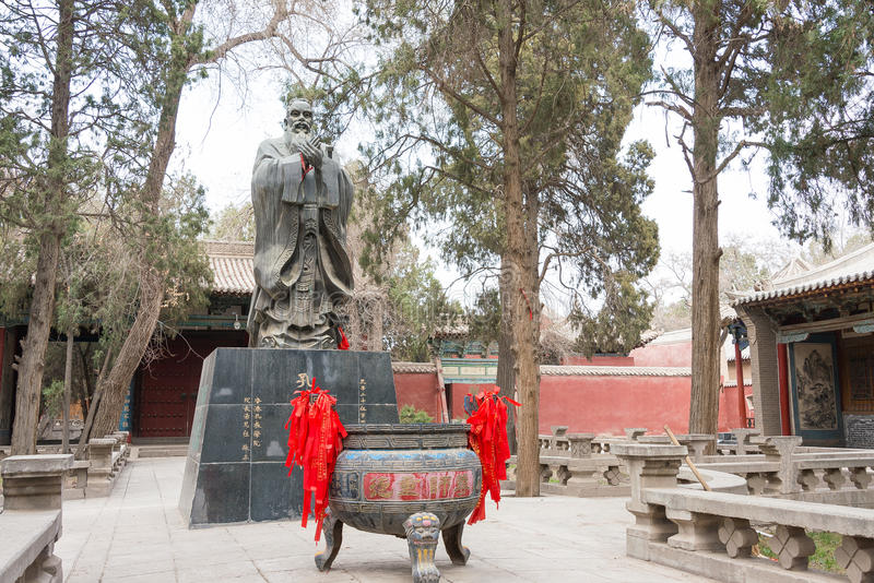 GANSU, CHINA - Apr 08 2015: Confucius Statue at Wuwei Confucian. Temple (Wuwei Wen Miao). a famous historic site in Wuwei, Gansu, China royalty free stock image