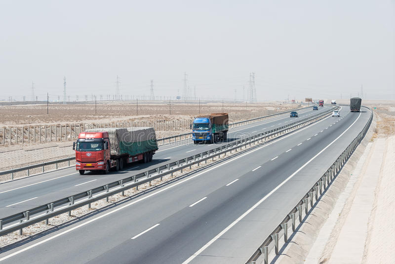 G30 Lianyungang Khorgas Expressway (Lianhuo Expressway) on Silk Road in Jiayuguan, Gansu, China. stock images