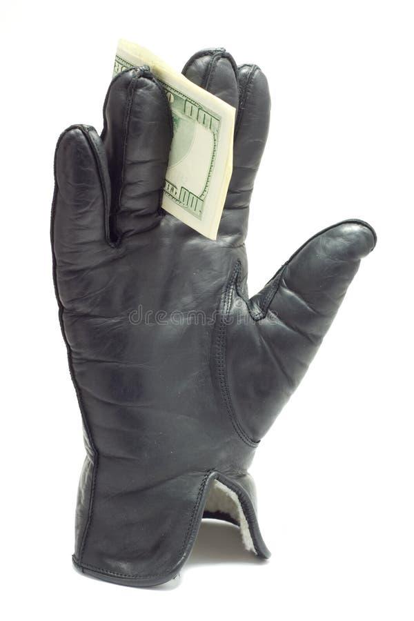 Gant avec des dollars photo stock