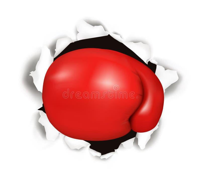 Gant de boxe rouge. Conceptuel. illustration de vecteur