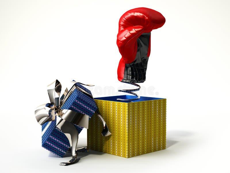 Gant de boxe sortant d'un boîte-cadeau. Faux présent, pour la plaisanterie. photographie stock libre de droits