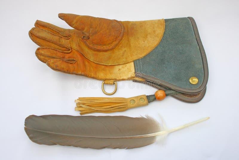 Gant et clavette de fauconnerie photographie stock