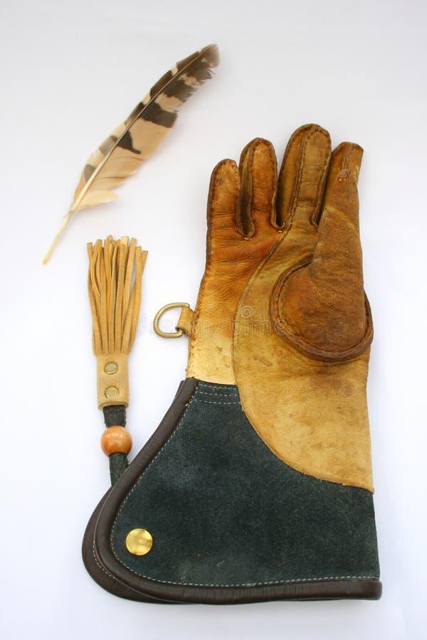 Gant et clavette de fauconnerie. images libres de droits