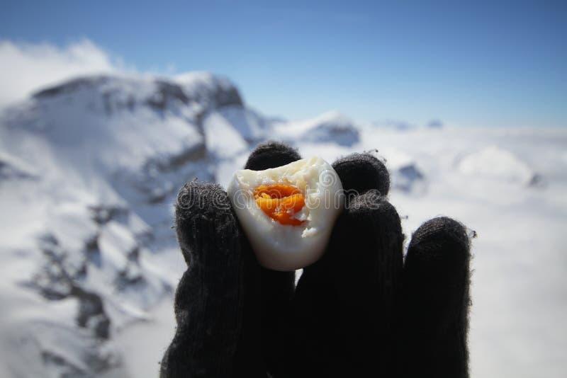 Gant humain de laine noir tenant l'oeuf à la coque frais chaud mordu, le jaune d'oeuf au milieu du temps froid de montagne de gla images stock