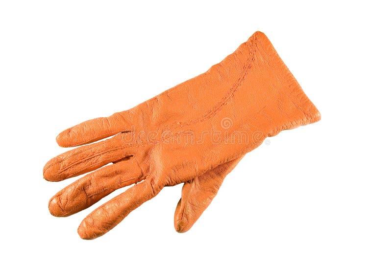 Gant orange d'isolement sur le fond blanc photographie stock