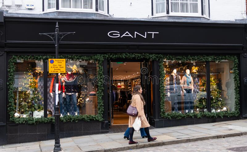 Gant store Guildford. Guildford, United Kingdom - November 06 2019:  The frontage of Gant clothes shop in High Street stock photo