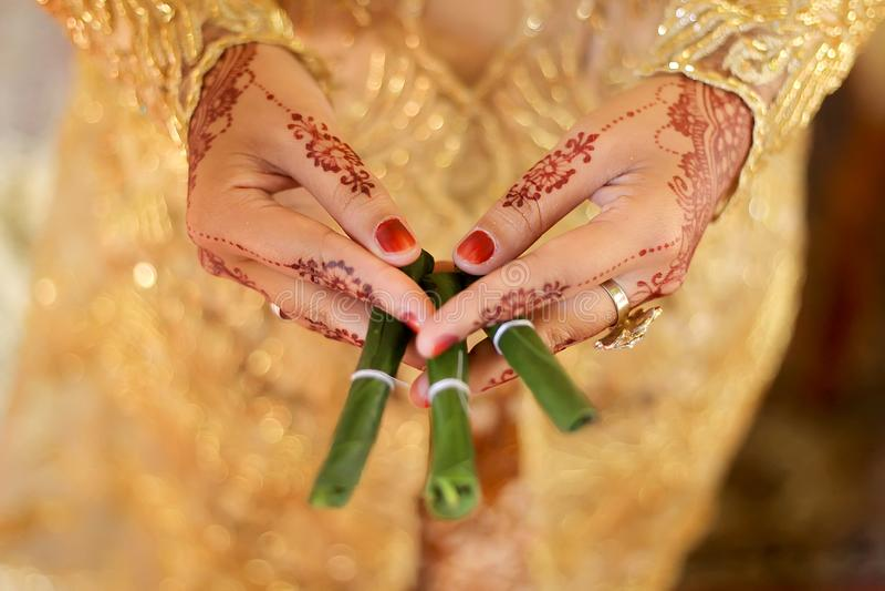 Gantal Suruh, bladprydnaden för traditionell Javanesebröllopritual kallade Panggih arkivfoto