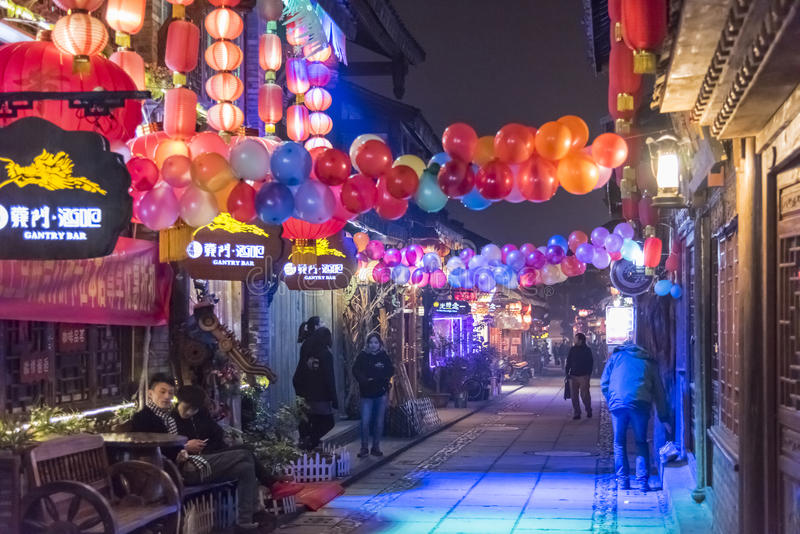 Gantry bar in Xijie street. This photo was taken in Dujiangyan city,sichuan province,china stock image