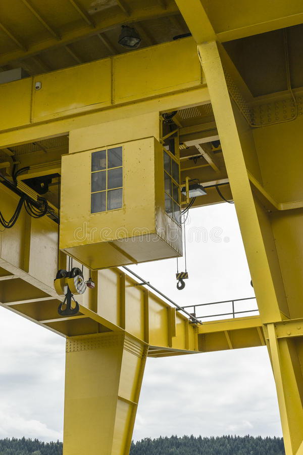 Gantry crane. Dam on the Lake Czchów in Poland. And details of yellow gantry crane royalty free stock images