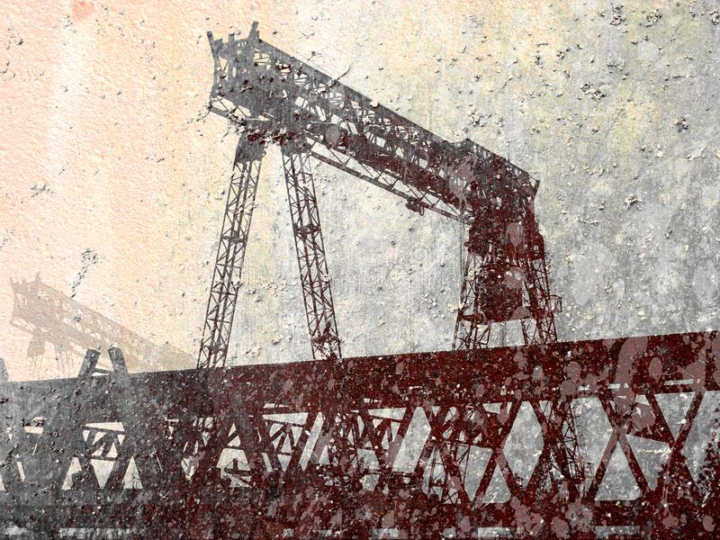 Gantry crane.Grunge collage background. Gantry crane.Grunge collage illustration stock images