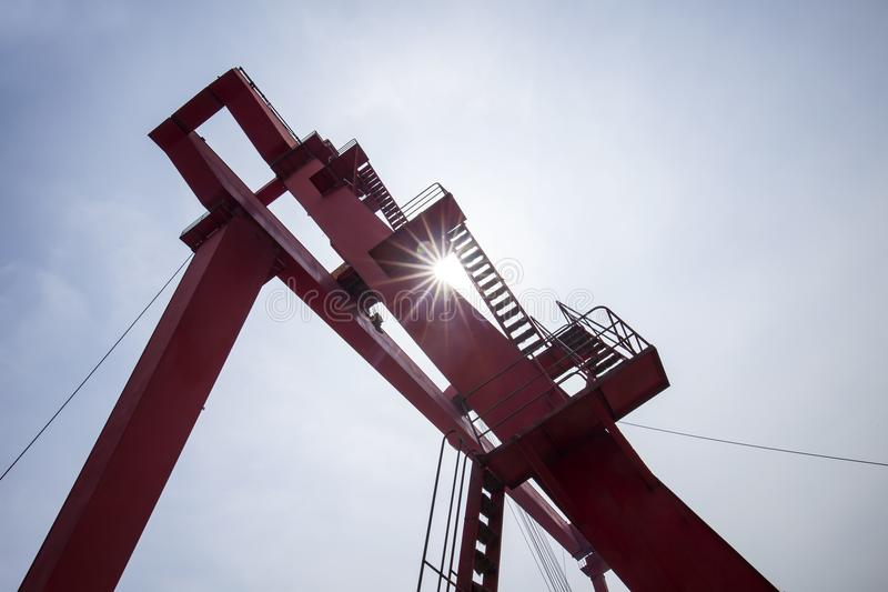 Gantry crane. In the site stock photography